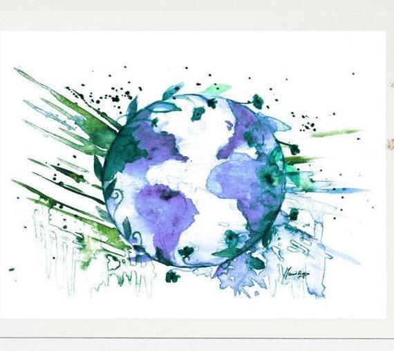 World Globe Print World Globe Watercolor Painting Map Print World Globe Wall Art World Globe Print Globe Poster Print Downloadable