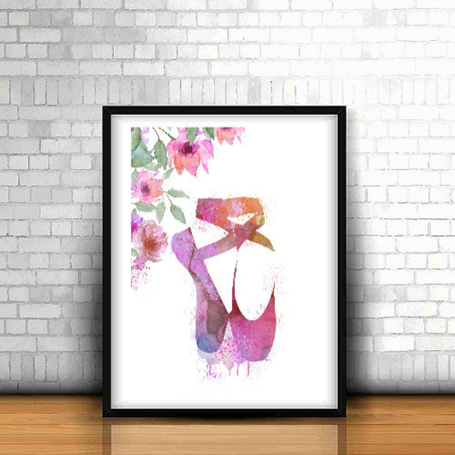 ballet shoes print art poster ballet illustration home decor watercolor dancing ballet painting . wall art print instant downloa