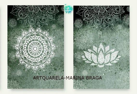 2 Láminas Nórdicas Modernas Mandala Y Flor De Loto Nl Acuarela