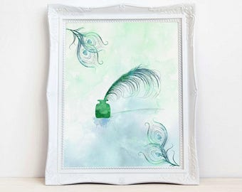 Printable Art Watercolor Peacock Feather Literary Gifts, Literary Art, Gifts for Writers Gifts Printable  .Instant download.