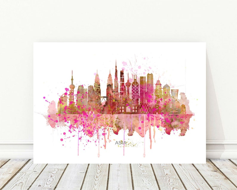Asia Wall Art print Gift Asia,Trendy wall decor Instant Download printable art Asia Skyline Printable Art,Fuchsia Rose Watercolor Painting