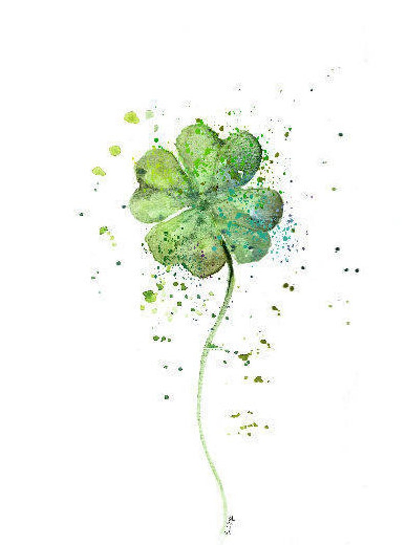 image relating to Printable Four Leaf Clover referred to as 4 Leaf Clover print. Poster 4 Leaf Clover.4 Leaf wall artwork, Watercolor 4 Leaf Clover print, 4 Leaf Clover Portray Printable.