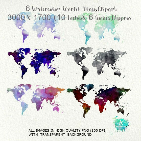 World map clip artset of 6 watercolor world map blue world etsy image 0 gumiabroncs Images