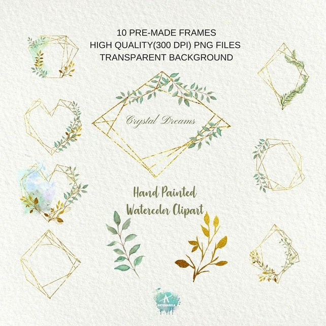 Crystal Leaves frames Gold framesPolygonal pre-made clipart | Etsy