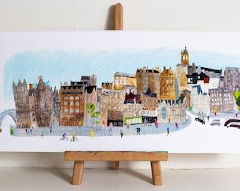 Old Town, Edinburgh Panoramic Print, Edinburgh print, Edinburgh art