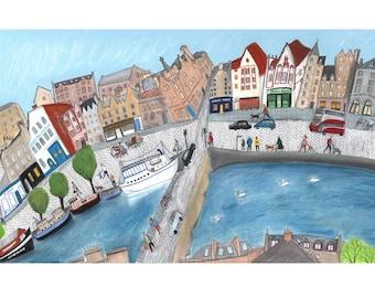 The Shore, Leith, Panoramic Edinburgh Print
