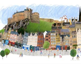 Grassmarket, Edinburgh Castle Print, Edinburgh print, Edinburgh art