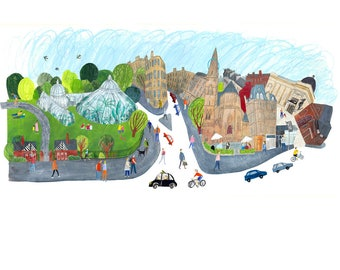 Glasgow West End Print, Kibble Palace, Oran Mor, Glasgow art, glasgow print