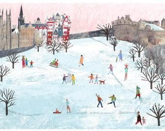 Snow on Castle Hill print, Edinburgh Castle, Ramsay Gardens artwork
