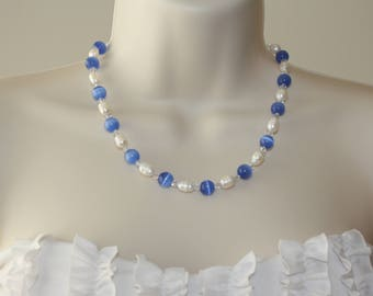 Freshwater Pearl Necklace / Blue Necklace/ Cat's Eye Glass Necklace / Swarovski Crystal Necklace / Beautiful Necklace