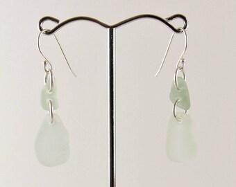 Sea Foam Sea Glass Dangle Earrings 925 Sterling Silver