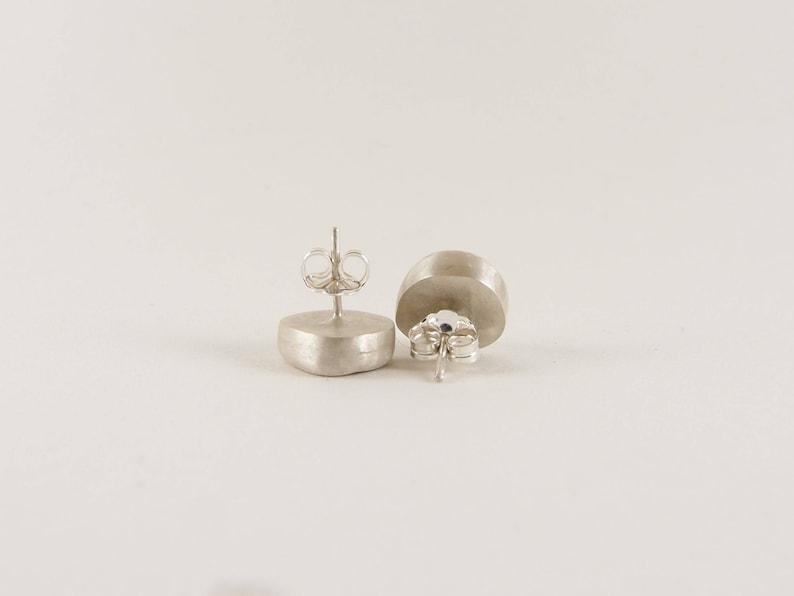 Dark amber Australian sea glass studs with 925 sterling silver bezel setting