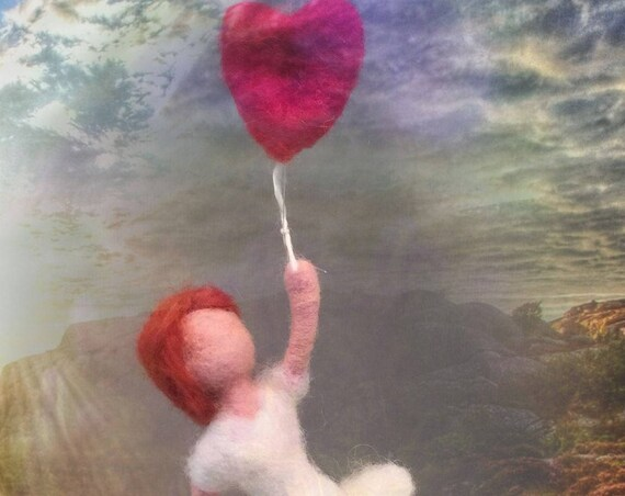 Needle felted doll, Waldorf doll, felted doll ornament, felted doll decor, art doll, wool doll, needle felted doll figurine, doll sculpture