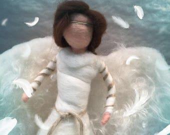 Angel tree topper, needle felted angel, Christmas decor, felted nativity, nativity figurine, felted angel ornament, felted angel decor, Xmas