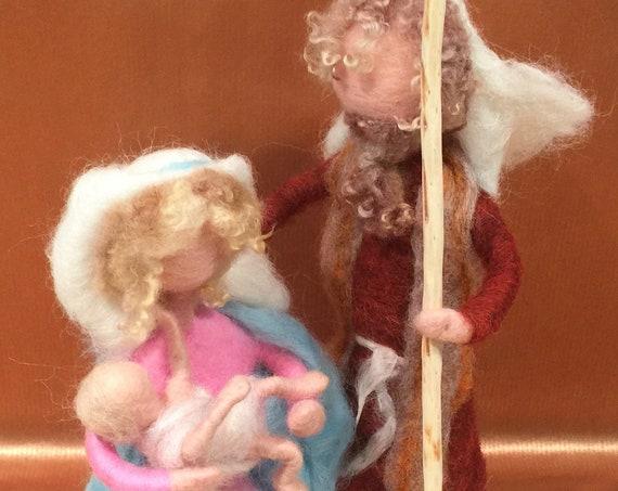 Nativity set, nativity scene, needle felted nativity, nativity art dolls, nativity animals, needle felted sheep, needle felted donkey, cow
