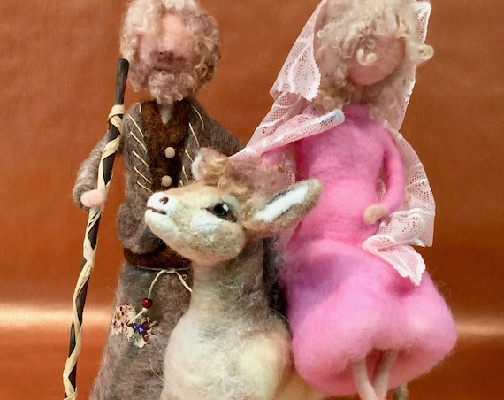 Needle felted nativity, nativity set, nativity scene, vintage nativity, Holy Family, Mary on her donkey, Waldorf nativity, wool nativity