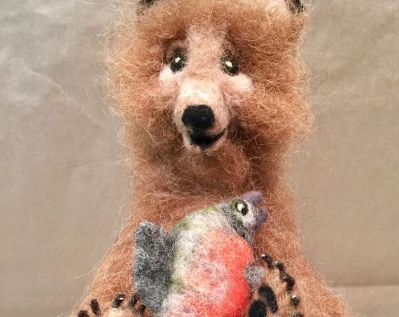 Needle felted bear, bear sculpture, bear figurine, bear doll, bear ornament, faux taxidermy, felted woodland animal, forest animal, wood
