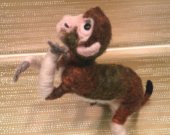 Needle felted monkey, monkey figurine, monkey sculpture, monkey ornament, monkey doll, monkey art, monkey lovers, needle felted animal, wild