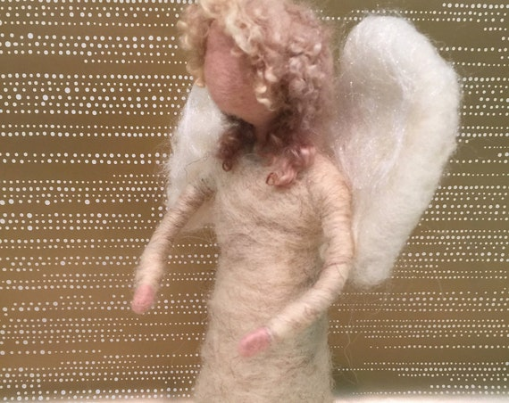 Felted tree topper, angel tree topper, needle felted nativity, nativity figurine, felted angel sculpture, felted angel figurine, angel art