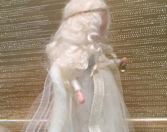 Waldorf fairy, felted winter fairy, Christmas felted, Christmas ornament, Valentines decor, winter doll, needle felted angel, winter angel