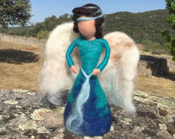 Angel tree topper, needle felted fairy, christmas ornament, woodland creature, waldorf doll, wool fairy, fairy figurine