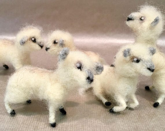 needle felted lamb, nativity set, needle felted sheep, felted shepherd, nativity scene, Waldorf nativity, lamb figurine, lamb sculpture