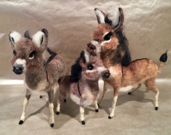 Needle felted donkey, wool donkey, felted donkey art, donkey sculpture, donkey figurine, donkey doll, felted farm animal, donkey ornament