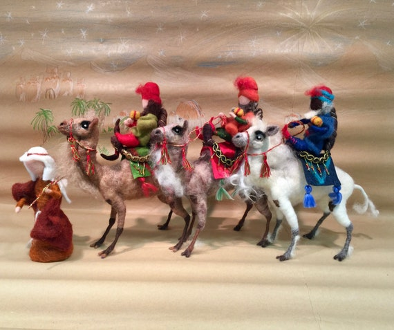 Needle felted kings, needle felted camels, needle felted nativity set, felted nativity set, needle felted animals, camel sculptures, Magi