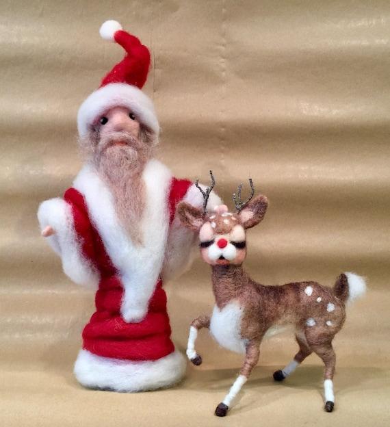 Needle felted Santa, needle felted Rudolph, needle felted Father Christmas, needle felted reindeer, wool Santa, wool Rudolph, Xmas ornament