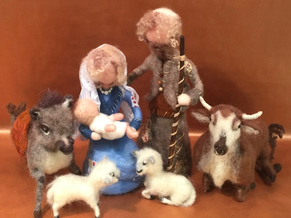 Nativity set, needle felted nativity, nativity scene, Waldorf nativity, nativity dolls, wool nativity set, Waldorf doll nativity, Xtmas doll