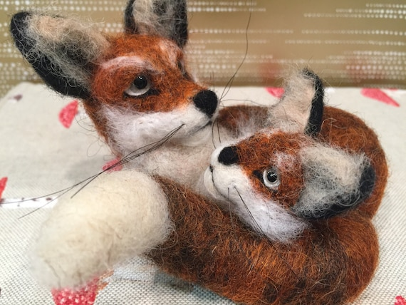 Neeedle felted fox with her resting with her baby, felted fox, needle felted fox, wool fox, fox sculpture, fox figurine, fox ornament, doll