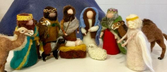 Needle felted nativity, needle felted wise men, needle felted angel, needle felted camel, nativity scene , needle felted sheep, felted goat