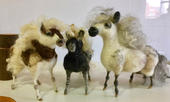Needle felted ponies, ponies sculpture, ponies doll, wool ponies, Waldorf animal, ponies ornament, felted horses, wool horses, farm animal