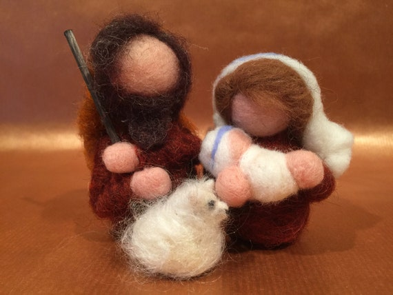 Nativity set, needle felted nativity, Waldorf nativity, nativity figurines, nativity sculptures, wool nativity, nativity art dolls, Xmas