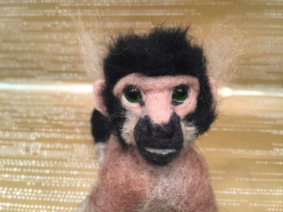Needle felted monkey, monkey sculpture, monkey figurine, monkey doll, monkey art, needle felted animal, wild animal, felted wild, Waldorf