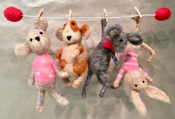 Children mobile, Baby mobile, children decor, kids decor, baby decor, children ornament, needle felted ornament, Waldorf ornament, Rag dolls