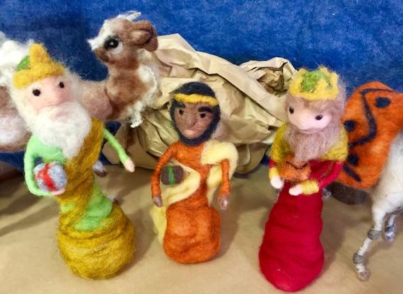 Needle felted nativity set, felted kings, the Magi, the Three Kings, the three kings, Waldorf nativity, Christmas decor,nativity figurines