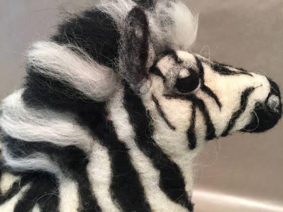 Needle felted zebra, felted safari, zebra figurine, zebra doll, wool zebra, safari animal, Waldorf animal, Waldorf inspired, zebra lovers