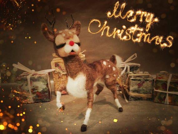 Needle felted Christmas ornament, felted Rudolph, felted reindeer, wool reindeer, Waldorf animal, felted Xmas decor, felted Christmas doll