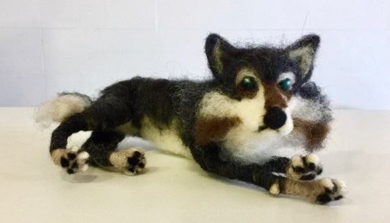 Needle felted wolf, wool wolf, wolf sculpture, wolf figurine, wolf ornament, wolf doll, wolf decoration, Waldorf wolf, felted forest animal