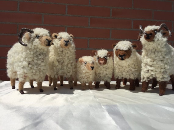 Sheep flock, nativity animals, needle felted sheep, nativity set, nativity felted, wool sheep, sheep flock, nativity ornament, nativity doll