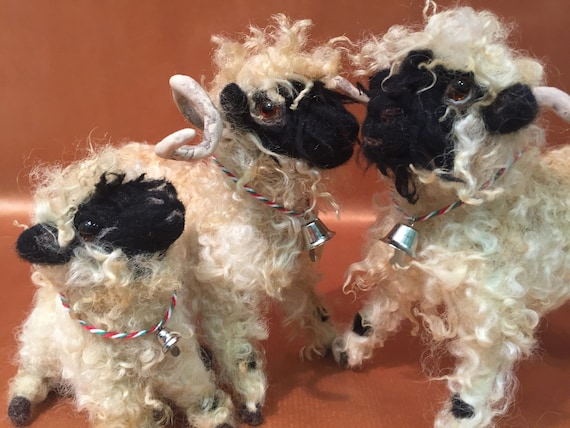 Needle felted sheep, wool sheep, Valais sheep, black nose sheep, felted sheep, sheep sculpture, sheep figurine, sheep doll, sheep art, flock