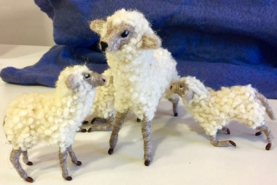 Needle feted sheep, needle felted flock, nativity set, needle felted nativity, felted lamb, wool nativity, felted Christmas, wool nativity