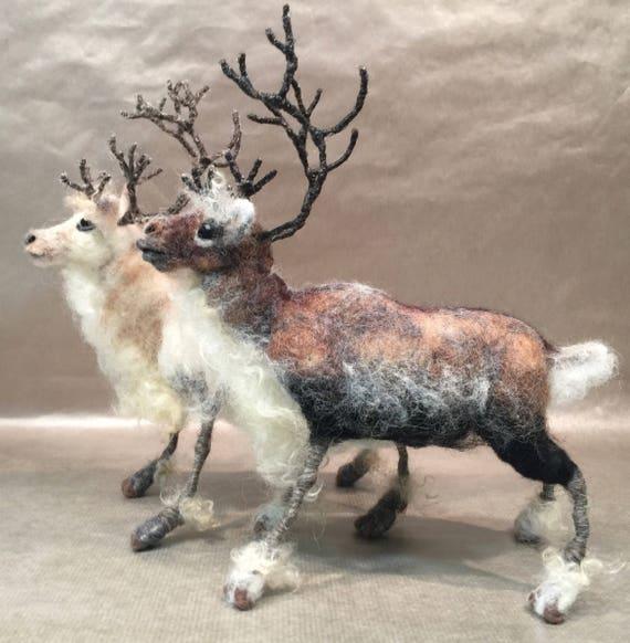 Needle felted reindeer, felted caribou, reindeer sculpture, reindeer figurine, reindeer doll, winter animal, Waldorf winter, wool reindeer