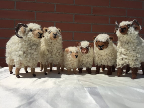 Needle felted sheep flock, nativity ornament, ram doll, sheep sculpture, lamb doll, nature table, waldorf doll, sheep doll, wool