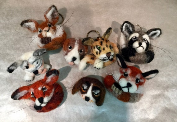 Needle felted animal, needle felted brooch, needle felted magnet, needle felted keyring, felted red panda, fox, squirrel, raccoon, cheetah