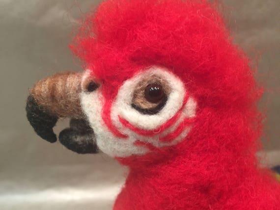 Needle felted parrot, needle felted bird, parrot ornament, parrot figurine, parrot sculpture, parrot lovers, parrot decor, faux taxidermy