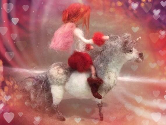 needle felted fairy, needle felted unicorn, Waldorf fairy, fairy doll, unicorn doll, unicorn figurine, felted fairy ornament, unicorn