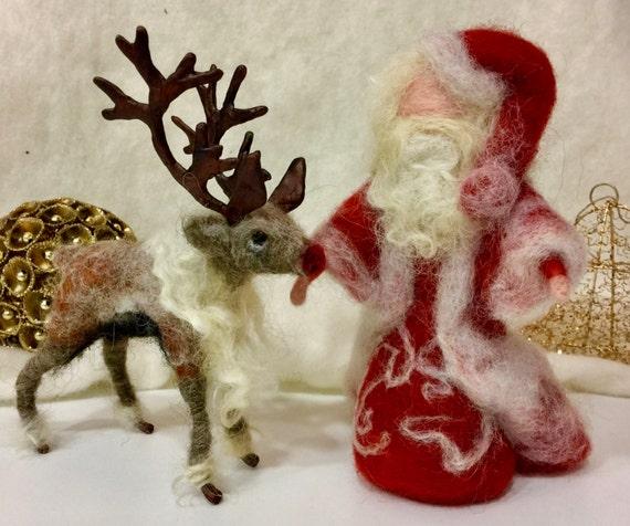 Needle felted Santa, Needle felted Rudolph, Needle felted Christmas, felted reindeer, wool Santa, wool Rudolph, wool reindeer