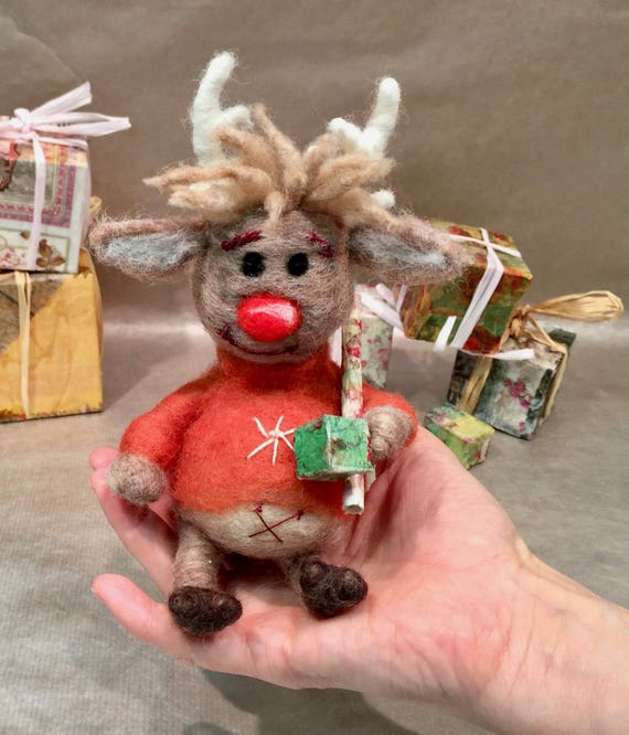 needle felted Rudolph, felted reindeer, felted Christmas animal, felted Christmas ornament, Christmas doll, Christmas present, reindeer doll